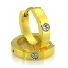 Серьги медсталь с напылением под золото и кристаллом