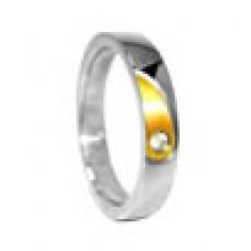 Кольцо медсталь с частичным напылением и кристаллом