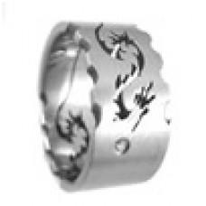 Кольцо медсталь с лазерной обработкой - дракон