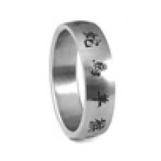 Кольцо медсталь с иероглифами