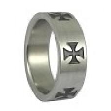Кольцо медсталь с крестами