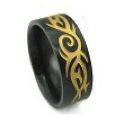 Кольцо медсталь черное с рисунком трайбл