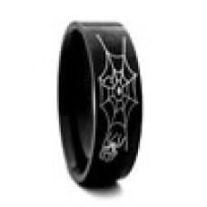 Кольцо медсталь черное с рисунком - паутина