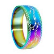 Кольцо медсталь с радужным покрытием и лазерной обработкой