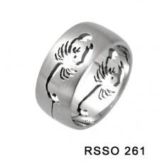 Кольцо медсталь с лазерной обработкой - скорпион