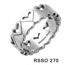 Кольцо медсталь фигурное с сердцами