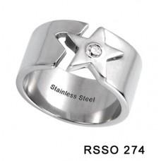 Кольцо медсталь разомкнутое со звездой