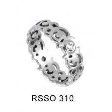 Кольцо медсталь фигурное с кристаллом
