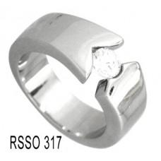Кольцо медсталь широкое с кристаллом
