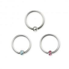 Кольцо в ухо с цветным кристаллом