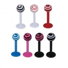 Лабрет биопласт цветной с рисунком на шарике