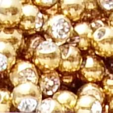 Сменные части - шарик медсталь с напылением под золото и кристаллом