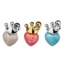 Украшение в козелок ушной раковины - сердце с короной