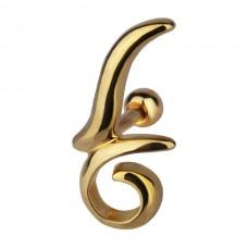 Украшение в козелок ушной раковины с напылением под золото