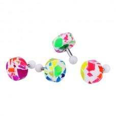 Штанга в козелок ушной раковины с разноцветной закруткой-таблеткой