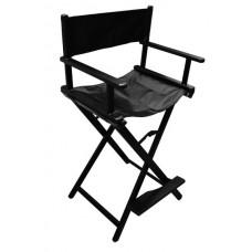 Кресло алюминиевое, раскладное чёрное, высокое, с подставкой для ног